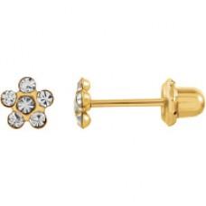 Серьги Inverness 805 Flower Crystal 5mm Gold 24Kt