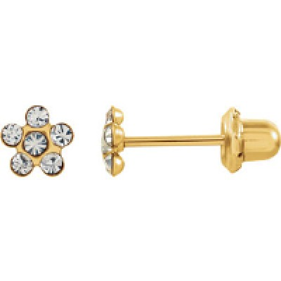 Серьги Inverness 805 Flower Crystal 5mm Gold 24Kt