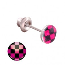 Серьги Inverness 602с Button Style Pink Chess Board