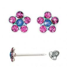 Серьги Inverness 804St Flower Rose/Sapphire - Titanium