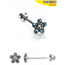 Серьги Inverness 117с Flower Aquamarina/Cristal 5mm NIOBIO